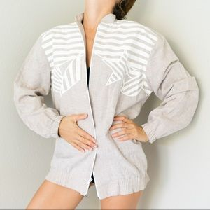 Vintage 80s Beige White Stripe Zip Up Jacket